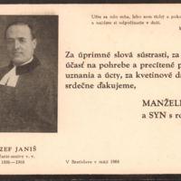 Poslednji pozdrav od sveštenika-seniora Jozefa Janjiša 1886-1968.